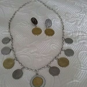 Italian lira necklace with matching earrings.